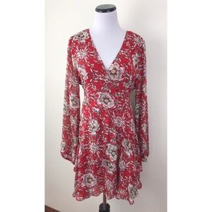 NWT Entro Floral Long Sleeve Tie Waist Dress